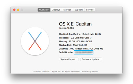 screenshot of About This Mac modal window