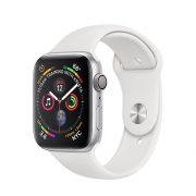 Watch Series 4 (44mm), Silver, Black Sport Band (Third party band)