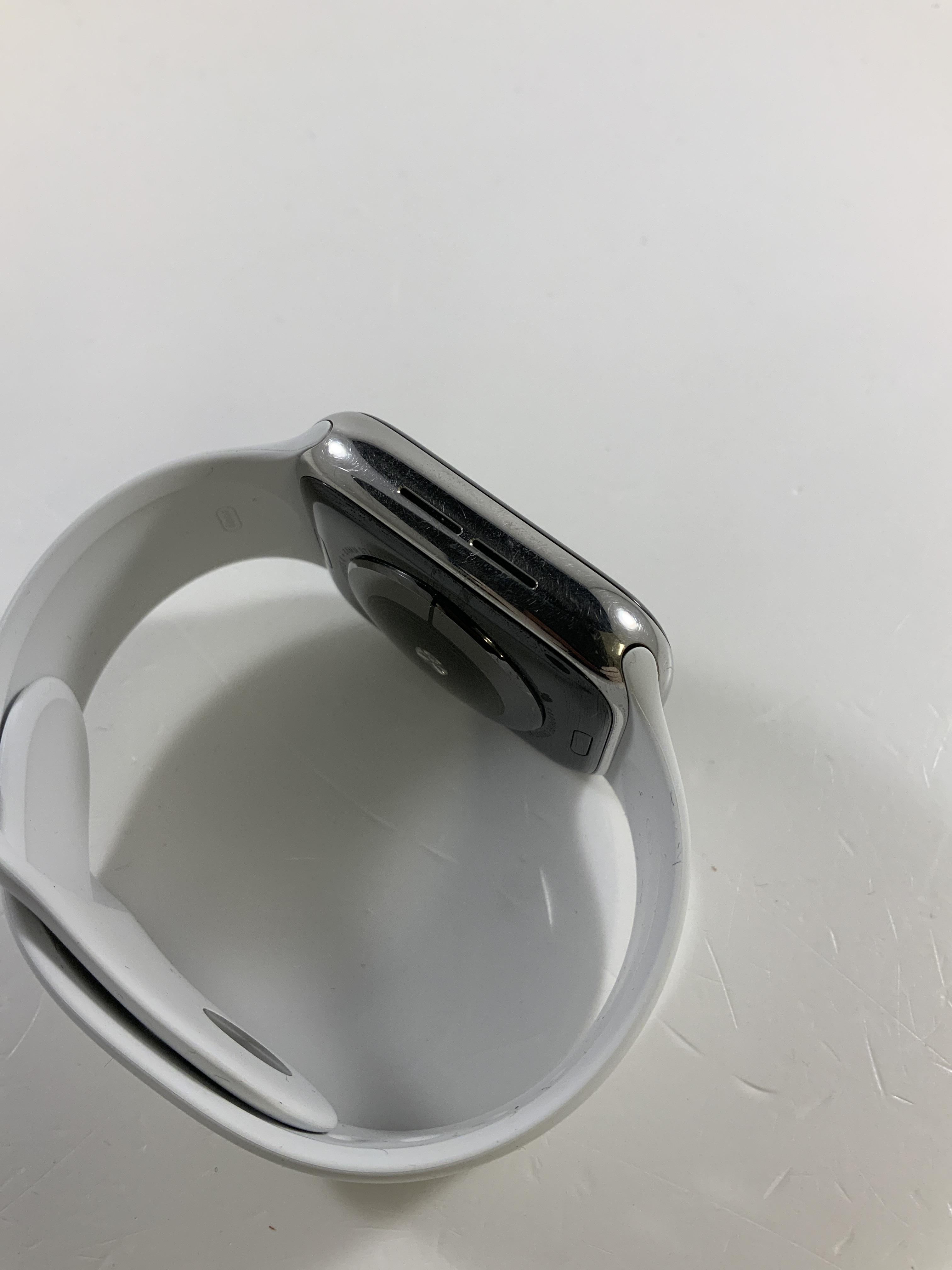 Watch Series 4 Steel Cellular (44mm), Silver, White Sport Band, Afbeelding 3