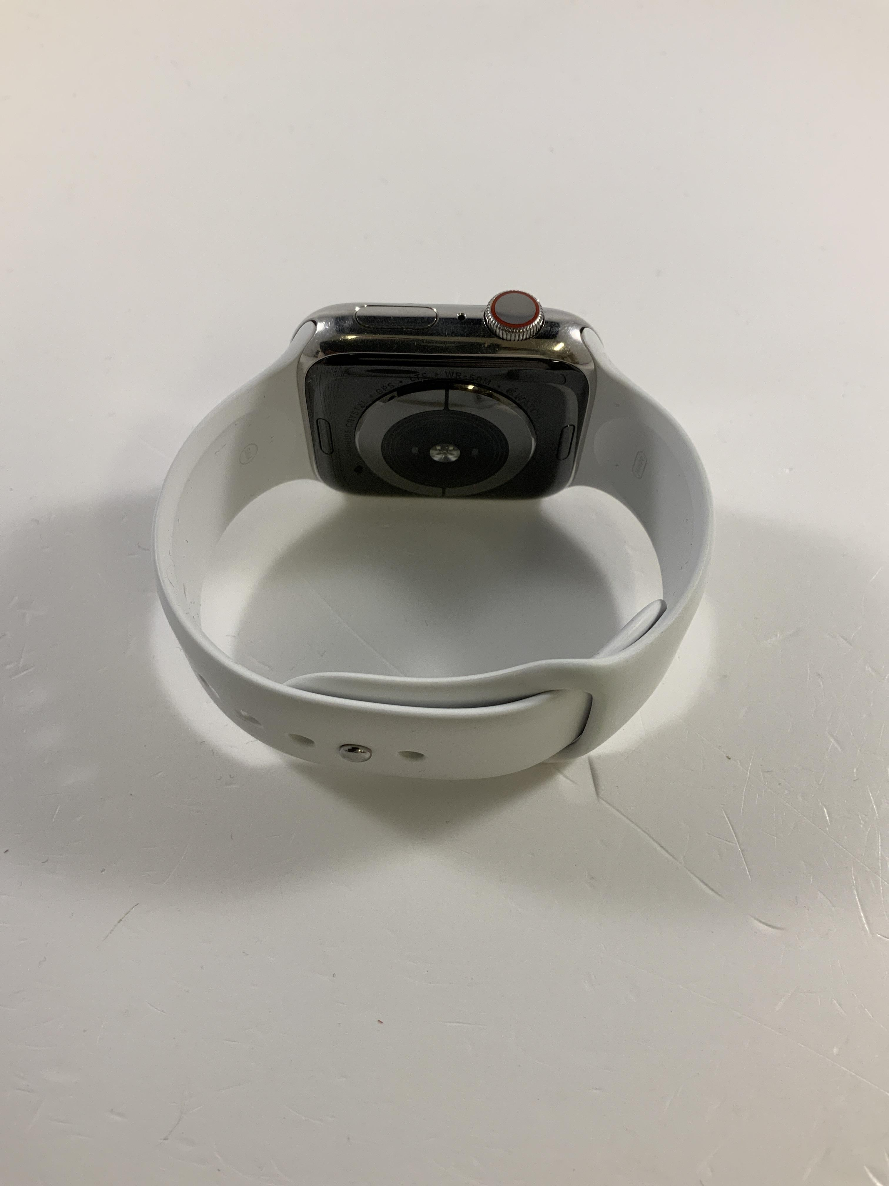 Watch Series 4 Steel Cellular (44mm), Silver, White Sport Band, Afbeelding 2